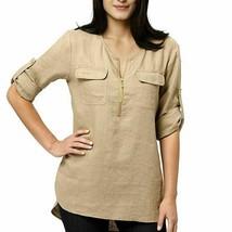 Company Ellen Tracy Womens Linen Roll Tab Tunic Shirt Blouse  M NWT $89.50 - $29.99