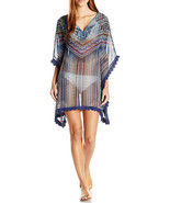 Jessica Simpson Dusty Road Denim-Inspired Lace Edge Chiffon Kimono Cover... - $28.74
