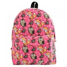 Cute Canvas and Print Design Backpack For Women - $7.03