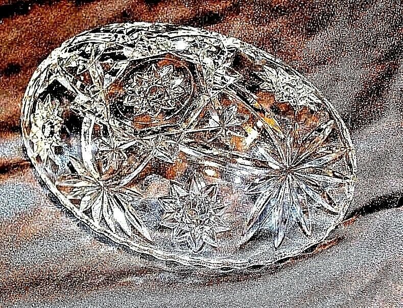 Cut Glass Bowl with of AA18-11905  Vintage Heavy Oval Detailed Etched Design