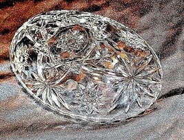Cut Glass Bowl with of AA18-11905  Vintage Heavy Oval Detailed Etched Design image 1