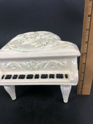 Vintage Handmade Ceramic Music Box Piano 1980's image 6