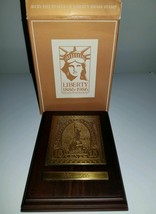 VINTAGE 1985 AVON BRASS STATUE OF LIBERTY STAMP PLAQUE ORIGINAL BOX - $4.98