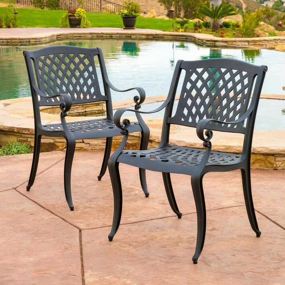 Outdoor Dining Chair 300 lb. Weight Capacity Mesh Aluminum ...