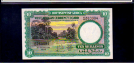 BRITISH WEST AFRICA P9a 10 Shillings 1958 Almost Uncirculated River Scene - $395.00