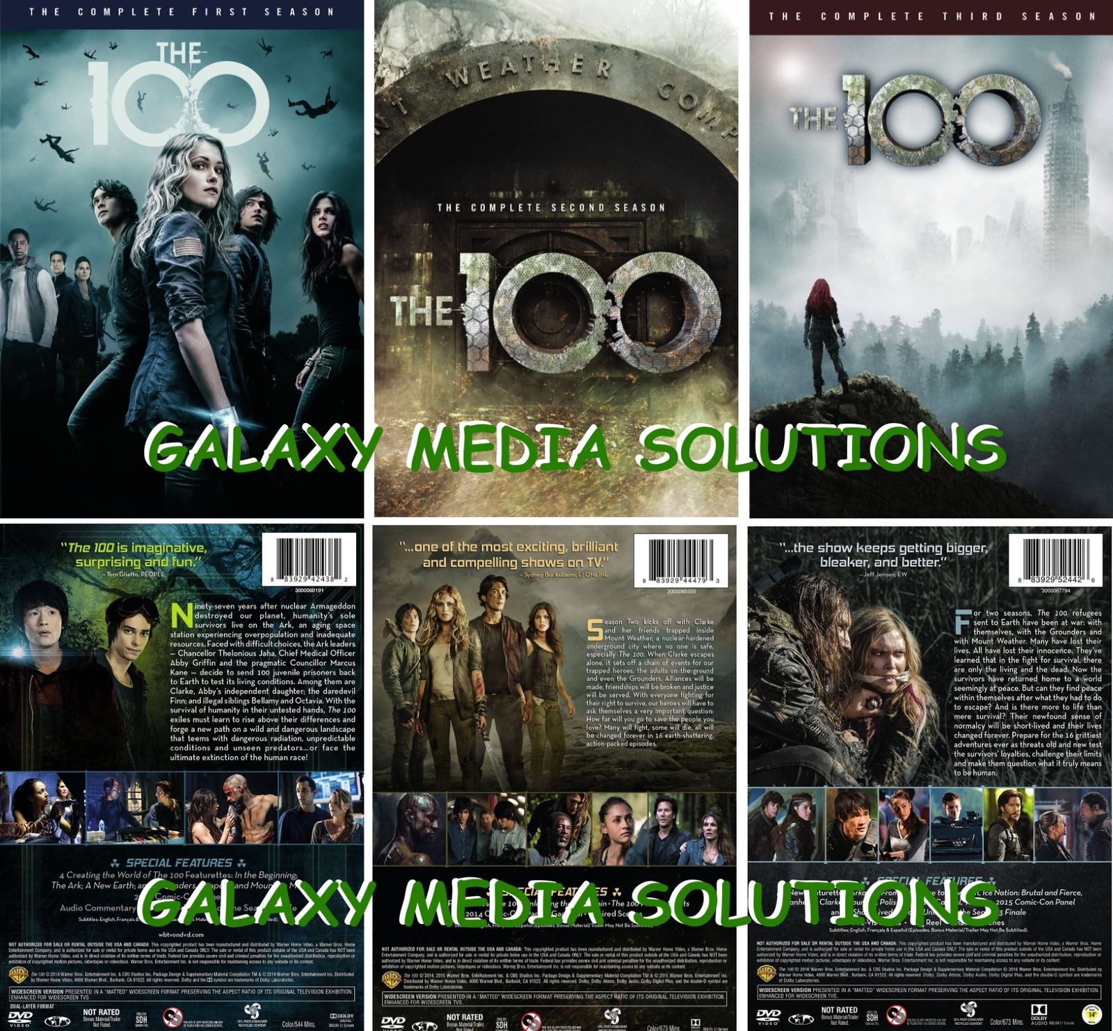 The 100 Complete Season 1-3 DVD Bundle (2014-2016, 7-Disc) 1 2 3