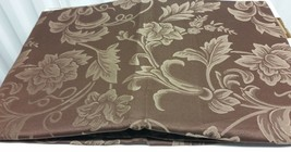 "DAMASK LINEN Tablecloth 54"" x 54"" Square  (4 people) FLOWERS ON BROWN by BH - $19.79"