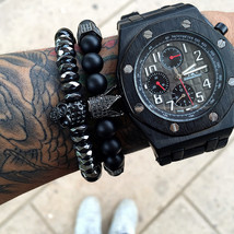 Hot Black Titanium Steel Skull Bracelet Men 8mm Onyx Natural Stone Beads - $14.79+