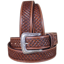 U-8-34 34 Inch Western Nocona Leather Mens Belt Tooled Square Weave Copper - $59.95