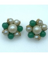 Green White Bead Cluster Clip On Earrings Marked Japan Gold Accents  - $6.90