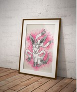 Sylveon Eevee Pokemon Anime Poster Wall Art Watercolor Print Anime Gift n9 - $181,02 MXN+