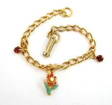 "Charm Bracelet Vintage Flower & Red Rhinestone Tiny Enamel Goldtone 6"" Length - $16.99"