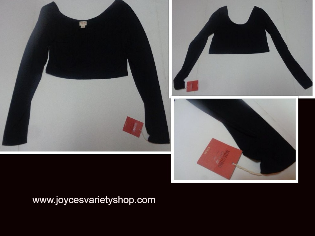 Mossimo long sleeved crop top black web collage