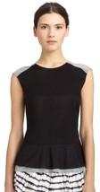 NWT Women's 10 Diane Von Furstenberg Carolyn 100% Cotton Peplum Top Black/Gray - $39.59