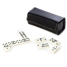 Domino Set in  Black Leather Case by Bey-Berk - $26.95