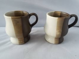 McCoy USA Pottery Vintage Tan Brown Glaze Rounded Cups Coffee Mugs Set of 2 - $27.89