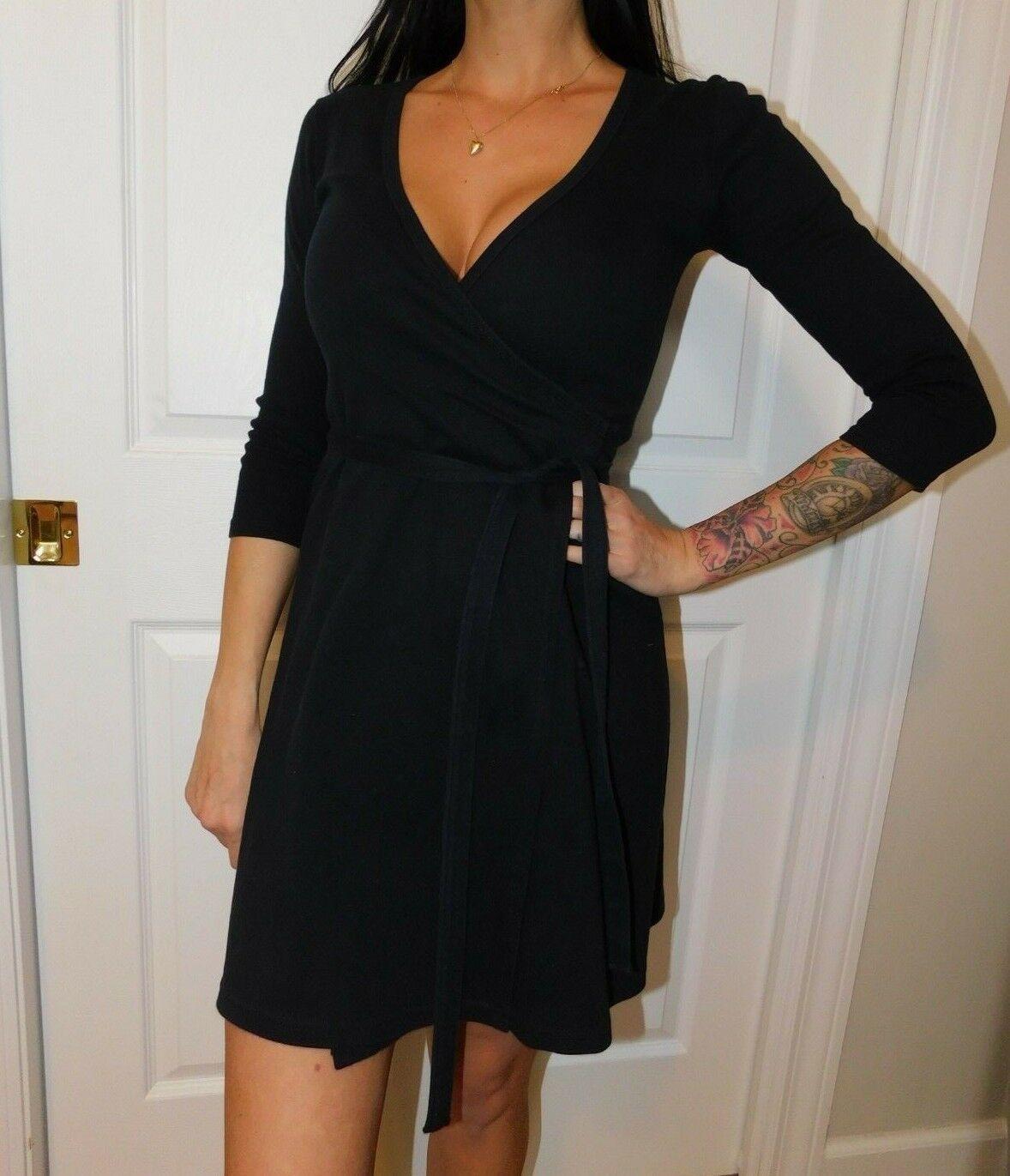 AMERICAN APPAREL Women's Black Wrap Dress Size US XS
