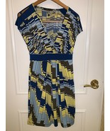bcbg maxazria Sleeveless  Geometric Yellow Blue Brown Pleated Sheath Siz... - $37.59