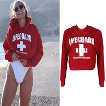 Women Red Long Sleeve Hoodie Pullover Ladies LIFEGUARD Printed Jumper Sweater Cr