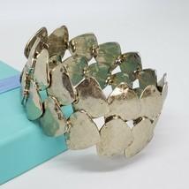 Chico's Stretch Bracelet Hammered Silver Tone Statement Bracelet Brutali... - $16.97