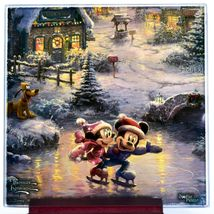 Thomas Kinkade Mickey & Minnie Sweethearts Prints 4 Pc Fused Glass Coaster Set image 5
