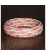 XS 57mm Coral Bermuda Ticking California Girl Bangle Coral and Brown Str... - $10.00