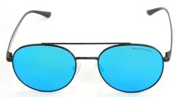 Michael Kors Sunglasses Lon Rounded Blue Mirror Lens Black Frame Womens - $125.57