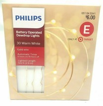 NEW Philips Battery Operated 30 Warm White Dewdrop Fairy Lights w 6/18hr Timer image 1