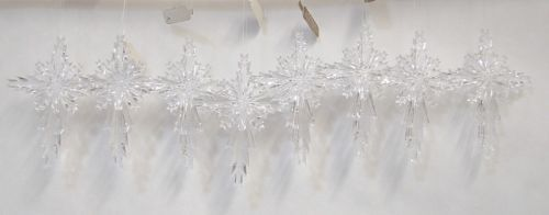 Roman 23886 Plastic Clear Snowflake Cross 4 Inch Christmas Tree Ornament 8 Set