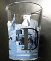 Denver Shot Glass Flared Style Blue White Wrap Mountain Cityscape Recess... - $7.99