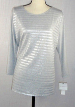 Liz Claiborne womens XL Extra Large Knit Top Gray Sequenced 3/4 Sleeve NWT - $22.99