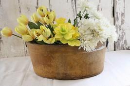 Antique Primitive Bucket Basket Vessel Hardened Paper Riveted Iron Handles  - $95.00