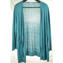Eileen Fisher sweater cardigan SZ L teal 100% linen knit pockets soft long s image 8
