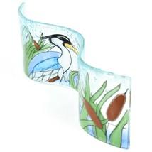Fused Art Glass Blue Heron Cattails Wavy Decor Sun Catcher Handmade in Ecuador image 2