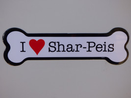 "I Heart (Love) Shar-peis Dogs Dog Bone Car Magnet 2""x7"" Waterproof Made ... - $4.99"
