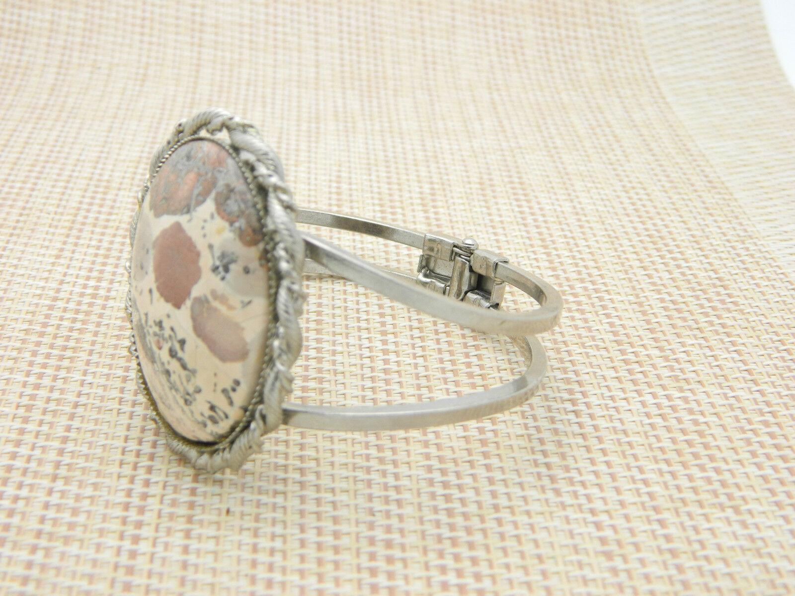 Cream Tan Brown Splattered Agate Silver Tone Bangle Bracelet Vintage