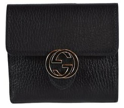 New Gucci Women's 598167 Black Leather Marmont GG French Bifold Wallet - $493.02