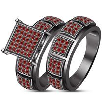 Black Gold Over Ladies Round Red Garnet Wedding Engagement Bridal Band R... - $104.99