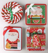 (Set of 4) Christmas Gift Card Holder Tins with Ribbon & To From Printed Tags