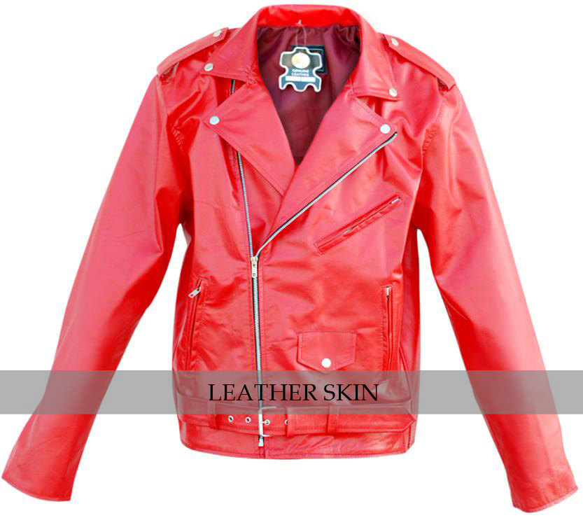 NWT Stylish Men Punk Red Brando Belted Leather Jacket w/ front pocket