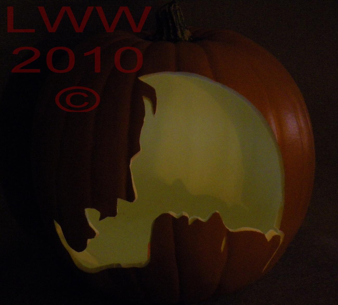Hand-carved Vampire & Woman Foam Jack-o-lantern Pumpkin Halloween