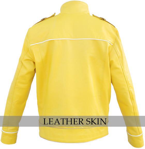 NWT Yellow Military Belted Unisex Fashion Stylish Premium Genuine Leather Jacket image 2
