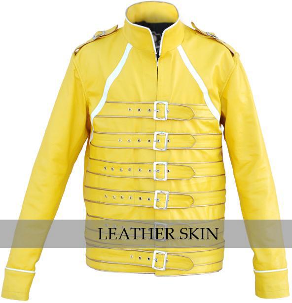 NWT Yellow Military Belted Unisex Fashion Stylish Premium Genuine Leather Jacket