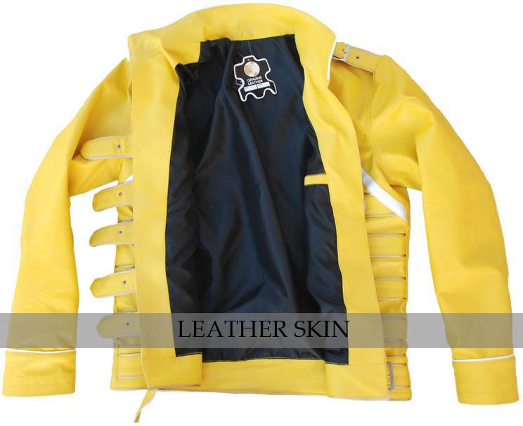 NWT Yellow Military Belted Unisex Fashion Stylish Premium Genuine Leather Jacket image 3