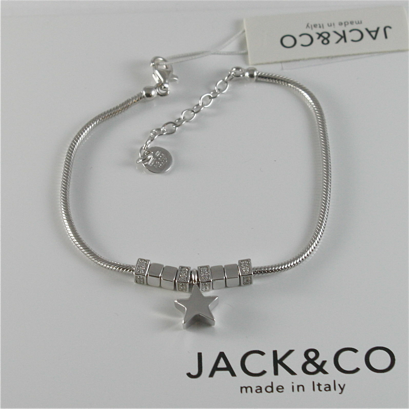 Silver 925 Bracelet Jack&co with Star Dog Butterfly Clover or Cat