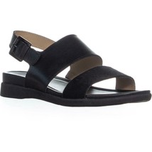 naturalizer Emory Buckle Flat Sandals, Black Brushed Hair, 7.5 W US - $34.55