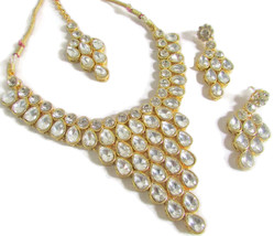 Indian Bollywood Style Fashion Gold Plated Bridal Jewelry Necklace Earri... - $19.84
