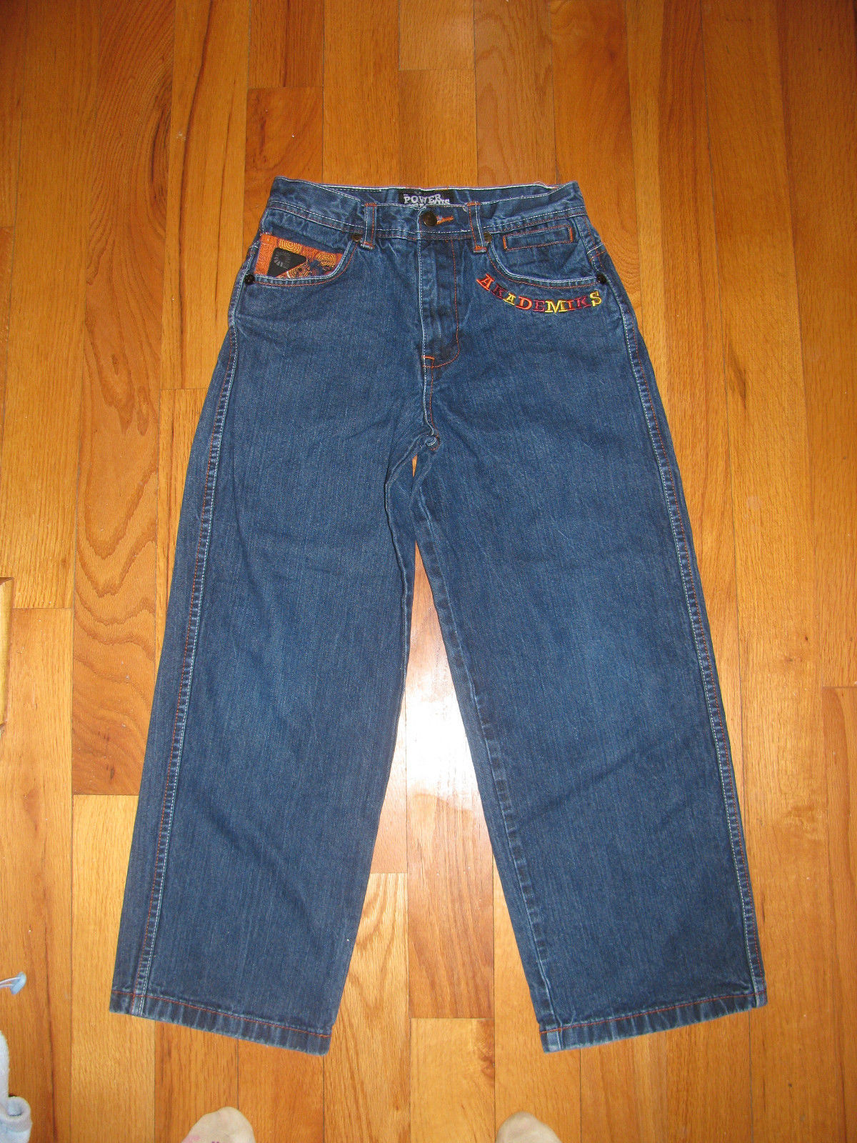 JEANS AKADEMIKS DENIUM JEANS THE POWER OF JEANIUS SIZE12 EMBELLISHED EMBROIRERY