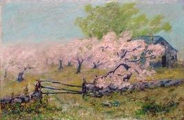 Apple Orchard Art Painting Landscape Illegible Signature 01364 - $2,500.00