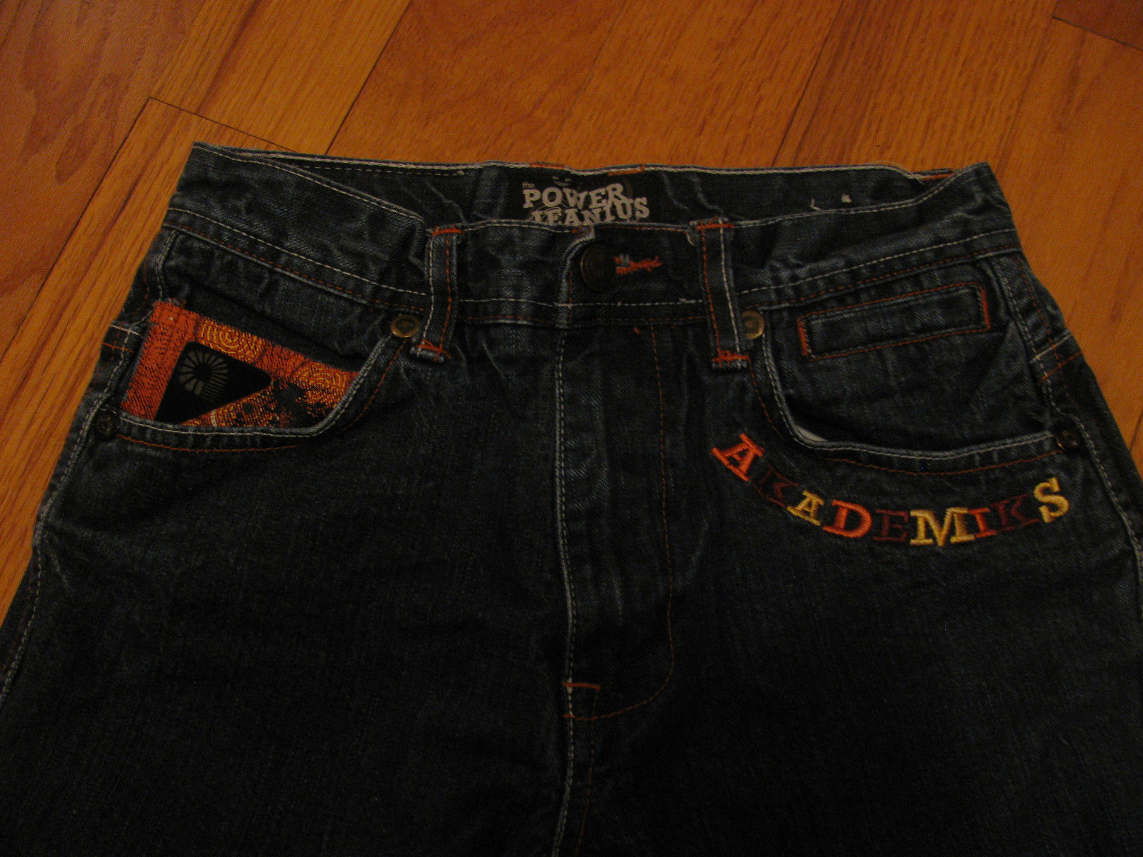 JEANS AKADEMIKS DENIUM JEANS THE POWER OF JEANIUS SIZE12 EMBELLISHED EMBROIRERY  image 7